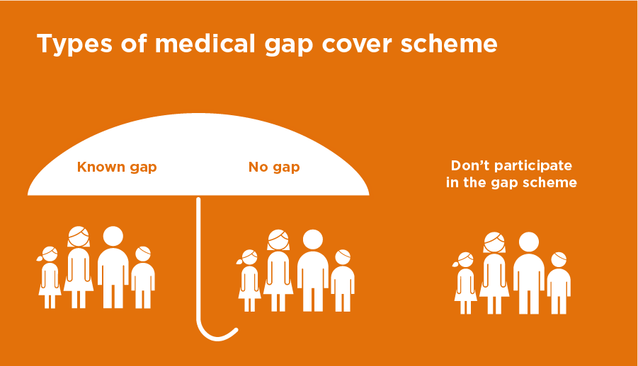 Types of medical gap cover scheme graphic