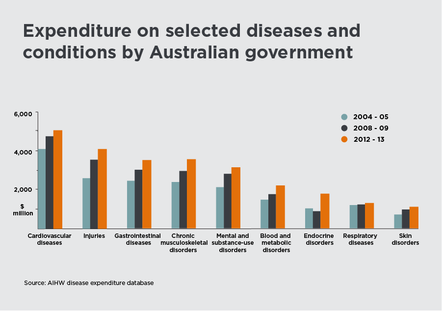 Expenditure on selected diseases and conditions graphic