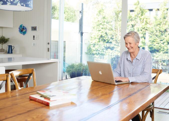 Mature woman comparing internet plans