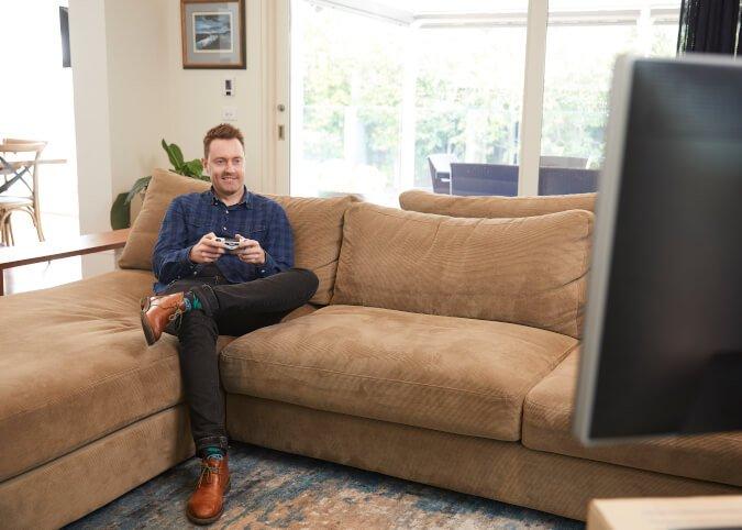 Young man streaming high bandwidth game