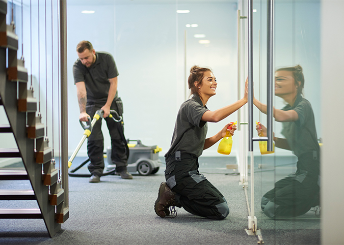 commercial cleaning staff working