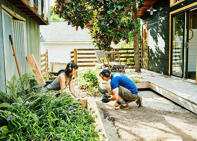 A couple gardening